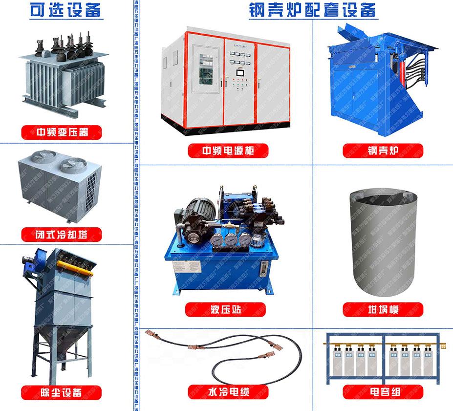 钢壳炉、变压器、中频电源、水冷电缆、坩埚膜、液压站、冷却塔、除尘设备